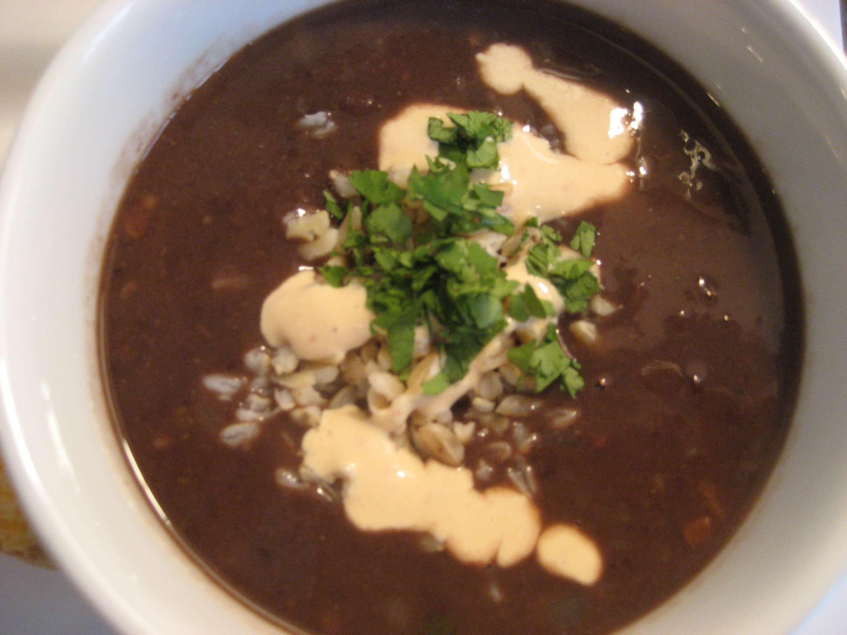 Hearty Black Bean Soup with Chipotle Cream