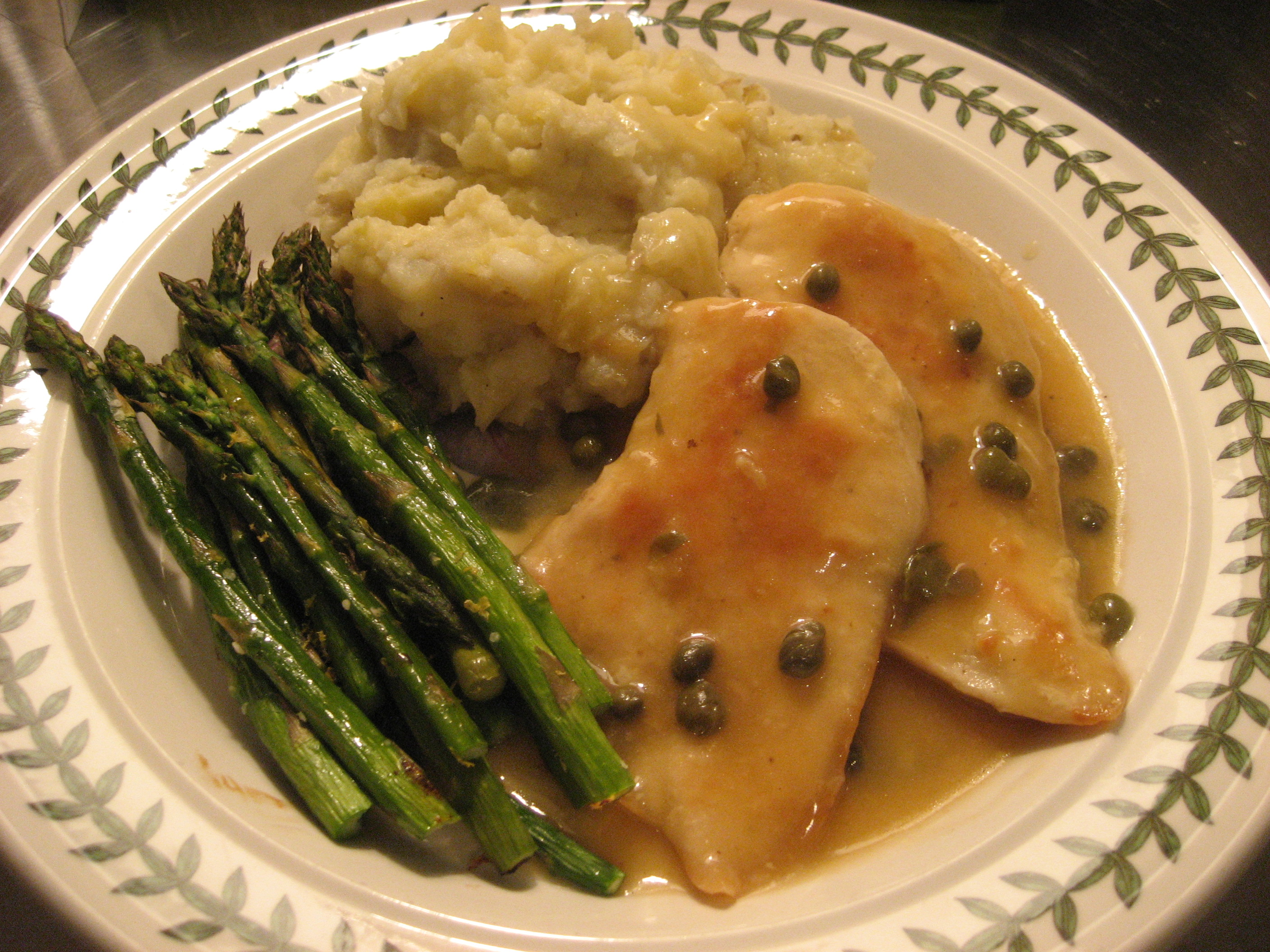 lemon-caper chicken, roasted garlic mashed potatoes and asparagus