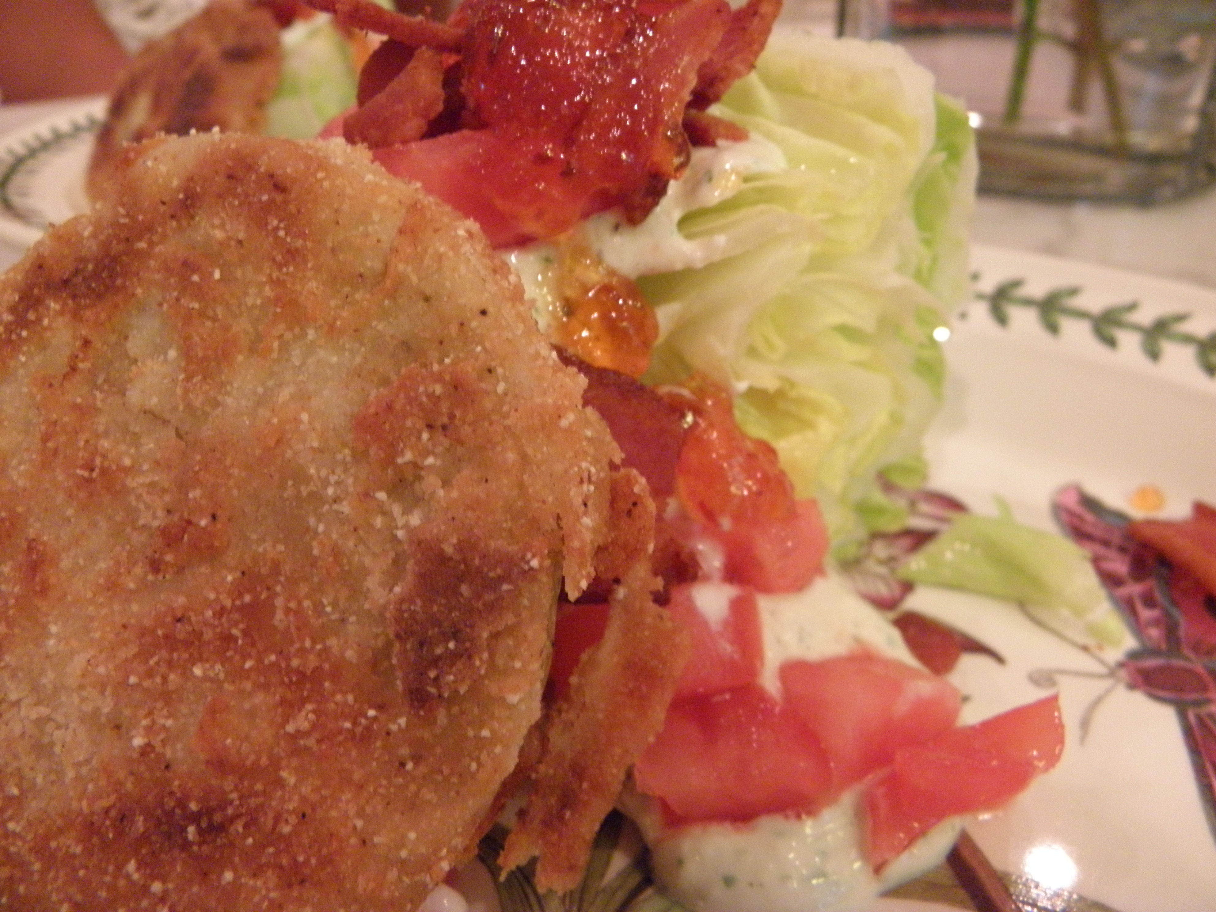 fried green tomato wedge salad with blue cheese dressing